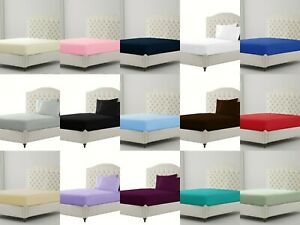 30CM Extra Deep Fitted Sheet Single Double Super King Bed Size OR Pillow Covers