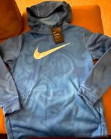 Nike Boys Therma Fit Hoodie Pullover Sweatshirt Marble Blue Size XL NWT