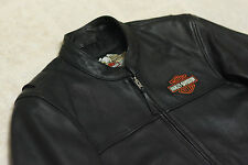 Harley Davidson Men's Stock Classic Black Motorcycle Leather Jacket L 98112-06VM