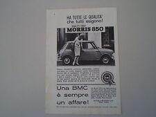 advertising Pubblicità 1962 BMC MORRIS 850