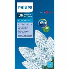 Philips 25 Count Christmas LED Faceted C9 String Lights Cool White