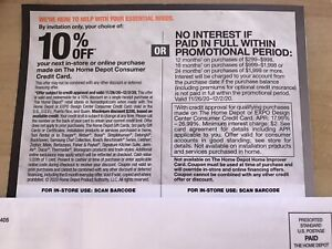 Home Depot 10% Off Coupon in-store or Online/24 months . Expires-12/02/2020 .
