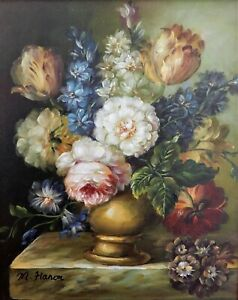 Still life of Flowers, Luxury mounted  & Framed Oil Painting, signed.