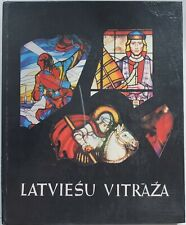 1979 Latvian Stained Glass Panel Russia Album in 4 Languages