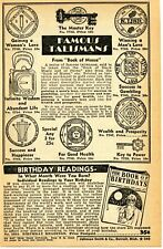 1951 Print Ad of Famous Talismans from Book of Moses & Black Magic gambling love