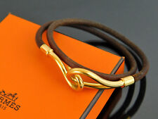 Authentic HERMES Goldtone Jumbo Hook Brown Leather Choker Necklace / Bracelet