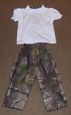 Realtree 12M Camo Outfit Girls Hunting Two Pocket Pants White Short Sleeve Shirt