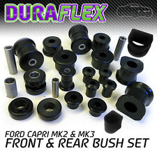 FORD CAPRI Mk 2 & Mk 3 Front and Rear Bush Set in Black Duraflex EXTREME