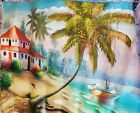 Caribbean Life w/ Parrots -oil painting on canvas