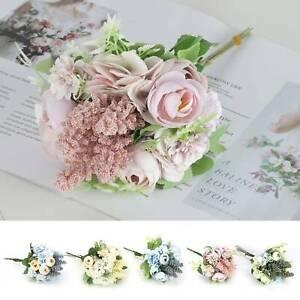 13 HEADS ARTIFICIAL SILK SMALL FLOWERS PEONY BUNCH Wedding Home Outdoor Decor