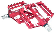 Aluminium Road MTB XC Mountain Bike Bicycle Pedal 2 DU Bearing Flat Pedals Red
