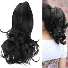 Black Women Lady Short Wavy Curly Claw Ponytail Clip-on Hair Piece Exte VGG