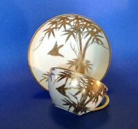 Teacup And Saucer - White With Gold Moriage Birds & Bamboo - Mitsu Boshi Japan