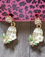 New Betsey Johnson Jewelry Lady's Birdcage Clear Rhinestone Earrings Fashion
