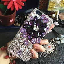 3D Luxury Bling Crystal Diamond flower Rhinestone Hard Clear Phone Case Cover #2