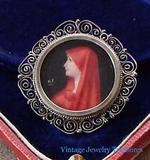Antique Hand Painted Miniature Portrait Under Glass 800 Silver Pin Pendant