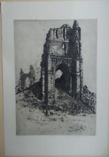 John C. Vondrous, View of Ruins of St. Martin Church in Belgie  etching 1921