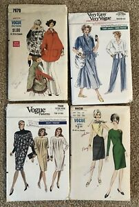 Lot of 4 Vintage Vogue Patterns 1960, 70, and 80s Sizes 14, Med., 14-18