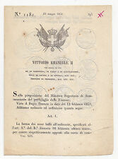 W573-REGNO DI SARDEGNA-DECRETO EMISSIONE CARTE BOLLATE 1850