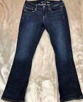 American Eagle Stretch Skinny Kick Dark Wash Denim Glitter Pocket Women's 10 S