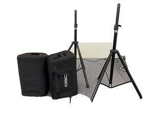 QSC K12 Active Speakers with stands and carry cases