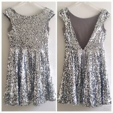 NWT Topshop Sequined Cocktail Party Dress Size 6 Silver Backless Skater