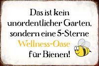 Wellness Oase Bienen Garten Blechschild Schild gewölbt Tin Sign 20 x 30 cm R0974