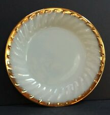 Beadshine Fire King White Swirl Milk Glass Plate 22 KT Gold Trim Anchor Hocking