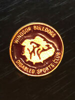 Vintage Collectible Windsor Bulldogs Disabled Sports Colorful Metal Pinback