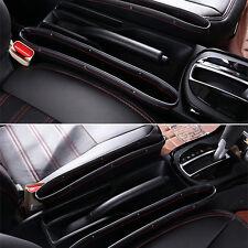 PU Leather 2x Car Seats Gap Catcher Caddy Pocket Storage Organizer Set Black