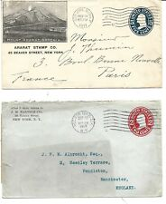 Estados Unidos. Dos Sobres Enteros Postales circulados a Francia y Inglaterra