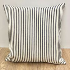 633. Handmade Blue Ticking Stripes 100% Cotton Cushion Cover Various sizes