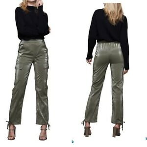 Good American The Paper Cargo Pants Sage Olive Green Size 2