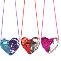 Kids Sequins Loving Heart Shoulder Coin Bag Baby Girls Mini Messenger Bag Purse