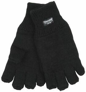 Mens Thermal Thinsulate Knitted Fleece Lined Fingerless Gloves GL131 - Black