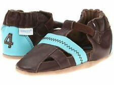 NIB ROBEEZ Shoes Sandals Colorblock Brown Blue Leather 0-6m 1 2