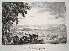 Zürich von der Westseite  Schweiz seltener echter alter  Kupferstich 1820