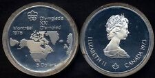 CANADA 5 Dollars 1973 Montreal Olympic 1976 North American map AG PROOF