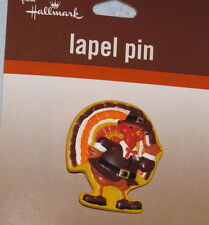 Thanksgiving Day Turkey Pilgrim Lapel Pin by Hallmark - New on Card