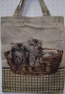Katzen Tasche Kätzchen Gobelin  Einkaufsbeutel Beutel Einkaufstasche Shopper