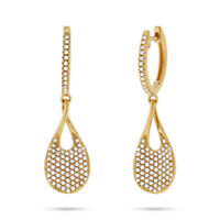 0.53 Ct 14K Yellow Gold Natural Round Cut Diamond Pave Tear Drop Pear Earrings