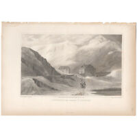 Swiss Scenery antique 1820 engraving landscape, Pl 12 Convent Grand St. Bernard