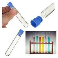 12*75mm Borosilicate Glass Test Tubes Rimless Pyrex & Push Caps Lab Clear 10pcs