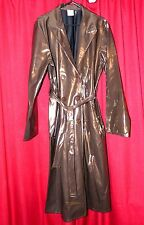 shiny wet look pvc womans raincoat 40 chest coffee colour sexy transvestite