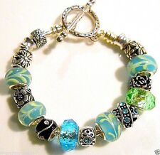 17 pc Finished 8 inch EUROPEAN CHARM Toggle BRACELET A187 Ships from USA