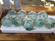 "lot of (8) x 2.5"" Japanese Glass Fishing Floats Authentic Old Vintage"