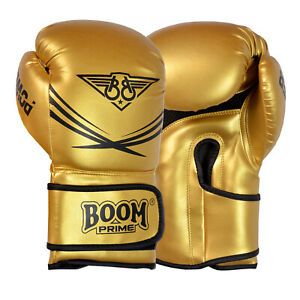 BOOM Boxing Gloves Leather Sparring Training Fight Punch Bag MMA Muay Thai Gold