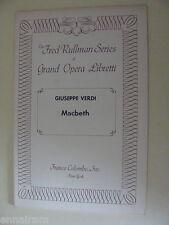 Opera Libretto Macbeth Giuseppe Verdi  Italian / English 1958
