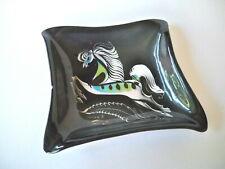 Sascha Brastoff Horse Plate Black Trinket Dish Mid Century Modern Art Signed