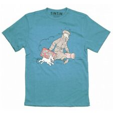 Tintin & Snowy homecoming t-shirt  LARGE Official Moulinsart Blue